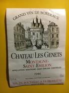 6473 - Château Les Genets 1986 Montagne Saint-Emilion - Bordeaux