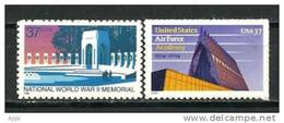 Memorial Americain De La 2 Ieme Guerre Mondiale Washington & Air Force Academy Chapel Building. 2 T-p Neufs ** - 2. Weltkrieg