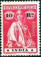 INDIA, PORTUGUESE INDIA, CERES, 1913, FRANCOBOLLI NUOVI (MLH*), 10 R.    Michel 347A   Scott 366 - Inde Portugaise