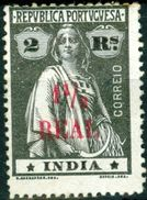 INDIA, PORTUGUESE INDIA, CERES, 1922, FRANCOBOLLI NUOVI (MLH*), 1½ R. On 2 R.    Michel 360   Scott 400 - India Portoghese
