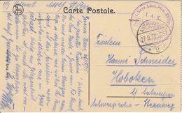 """WO 1 / 1914-1918 : FELDPOST  ZK  """" ANTWERPEN 27.9.15 / * 2 D"""" + Violette DCS """"I. A. K. / ANTWERPEN"""" - WW I"""