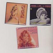 Rare 3 Magnets Albums Disques Brigitte Bardot Format 4.5X4.5 Cm - Personaggi