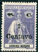 LOURENCO MARQUES, COLONIA PORTOGHESE, PORT. COL., CERES, 1920, NUOVI (MLH*), 1 C. On 2½ C. Michel 174, YT 173, Scott 161 - Lourenco Marques