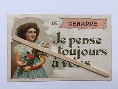 DE GENAPPE JE PENSE TOUJOURS À VOUS « Carte Fantaisie ,fillette Avec Bouquet De Fleurs (1906) Édit V.P.F. - Genappe
