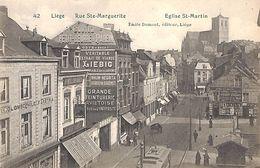 Liège - Rue Ste Marguerite Eglise St Martin (animée, Tram Tramway, Publicité 1911) - Liege