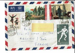 Chine Enveloppe Par Avion Datée 1965 2 Timbres De Mao Tse Tung 1 Timbre Tennis De Table - 1949 - ... Volksrepublik