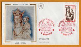 FDC - Timbres Croix Rouge - Vierge à L'Enfant - Soie - Soierie - Baillon XV Siècle - Enghien Les Bains - 1983 - O.P.P. - FDC