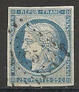 FRANCE - N° 4 - 25 CENTIMES BLEU Oblitéré PC - 1849-1850 Cérès