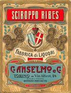 """07191 """"C. ANSELMO E C. - TORINO - STABILIMENTO MARTINETTO - SCIROPPO RIBES 1928""""  ETICHETTA ORIGINALE. - Labels"""
