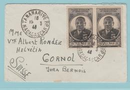 C12.  Félix Eboué Tananarive 19.3.42 Madagascar RP  Pour La Suisse - Storia Postale
