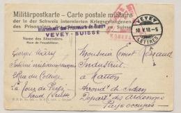 Schweiz - 1918 - Konstanz Censored POW-Postcard From VEVEY To Departement Des Ardennes / Pays Occupés - Documenten