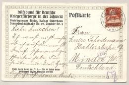 Schweiz - 1918 - Postcard From Hilfsbund Fúr Deutsche Kriegerfürsorge In De Schweiz To Minden / Deutschland - Documenten