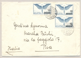 Schweiz - 1938 - 3x Overprinted Flugpost On Militarpost Brugg Kaserne To Pisa / Italy - Documenten