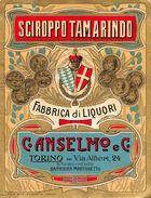 """07192 """"C. ANSELMO E C. - TORINO - STABILIMENTO BARRIERA MARTINETTO - SCIROPPO TAMARINDO""""  ETICHETTA ORIGINALE. - Labels"""