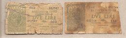 """Italia - Banconote Circolate Da 2 Lire """"Italia Laureata"""" - 1944 Serie Completa Dei Due Decreti Emessi - [ 1] …-1946 : Kingdom"""
