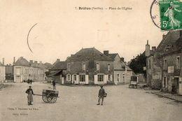 CPA BRULON. Place De L'église. Restaurant, 1910. - Brulon