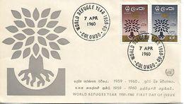 SRI LANKA CEYLON 1960 REFUGEES FDC UNUSED - Refugees