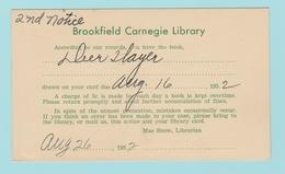 OM5  USA Entier Postal Repiqué : Brookfield Carnegie Library  26.8.1952 - 1941-60
