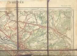 CHENEE - Carte Topographique Militaire Toilée De 1913 Et Imprimé En Couleurs En 1927 , XLII / 6 - 1 /20.000 (b223) - Topographical Maps