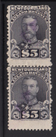 Newfoundland Used Van Dam #NFR21a Vertical Pair $5 George V Crease, Perf Faults - Fiscaux