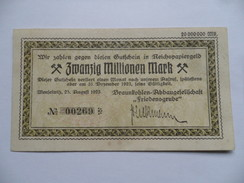 (Allemagne, 1923 - Billet De 20 Millionen Mark) -  Société Minière De Lignite Friedensgrube, Meuselwitz....voir Scans - [11] Emissions Locales