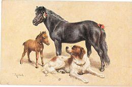 JUMENT De CONCOURS  Et SON POULAIN - CHIEN Illustration C.REICHERT - Raphael TUCK - OILETTE N) 3442 BEST OF CHUMS - Paarden