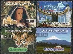 ECUADOR 2010 ** YVERT 2206-09 Provincias. RELIGION. BOLIVAR, FELINOS. VOLCANES - Ecuador