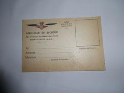 Carte De Membre AERO-CLUB De Saint-Cloud ( Seine & Oise ) - Document Vierge - Années 40 - Aviation - Fliegertreffen