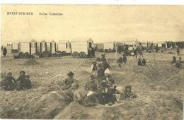 HEYST SUR MER SCENE ENFANTINE SUR LA PLAGE DERRIERE LES CABINES EN BOIS VERS 1910 - Heist