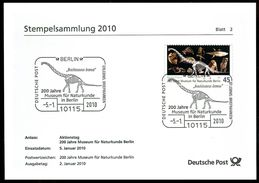 02671) BRD - Stempelkarte Michel 2775 - SoST Vom 05.01.2010 In 10115 BERLIN, Naturkundemuseum, Brachiosaurus Brancai - BRD