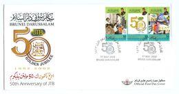 Brunei Darussalam 2002 FDC The 50th Anniversary Of Department Of Telecommunications / Brochure, Technical Details Inside - Brunei (1984-...)