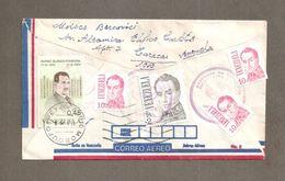 BUSTA STORIA POSTALE VIA AEREA 1985 VENEZUELA PER ITALIA DA CARACAS A MOSCUFO ( PESCARA ) - Venezuela