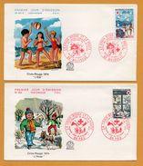 2 FDC N° 901 A Et N° 902 - Croix Rouge Et La Poste - Été - Hiver - Enfants - 64 Pau - 68 Mulhouse - 1974 - H. SIMONI - FDC