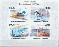 Comores MNH Polar Year Imperforated Sheetlet And SS - Antarctic Wildlife