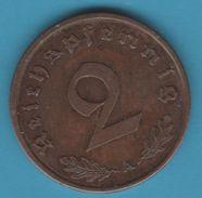 DEUTSCHES REICH 2 REICHSPFENNIG 1938 A KM# 90 Svastika - [ 4] 1933-1945: Drittes Reich