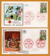 2 FDC - Croix Rouge Et La Poste - Soie - Le Rat De Ville Et Le Rat Des Champs - Fromage - 02 Chateau Thierry - O.P.P. - FDC