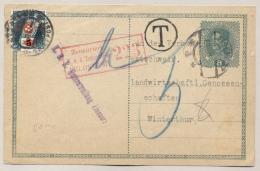 Schweiz - 1917 - 5 Cent Overprint On 3 Cent Portomarke On Taxed And Censored Postcard From KuK Eizenerz To Winterthur - Strafportzegels