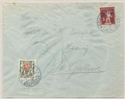 Schweiz - 1928 - 30 Cent Portomarke On Taxed Cover From Oberstett To St Gallen - Strafportzegels