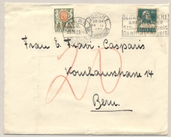 Schweiz - 1929 - 20 Cent Portomarke On Taxed Cover From Zürich To Bern - Strafportzegels