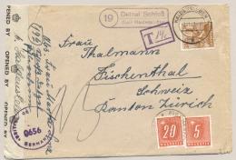 Schweiz - 1947 - 20 En 5 Cent Portomarke On Taxed Censored Cover From Detzel Schloss / Deutschland To Zürich - Portomarken