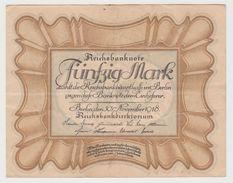 ALLEMAGNE 50 Mark 1918 P65 VF - [ 2] 1871-1918 : Empire Allemand