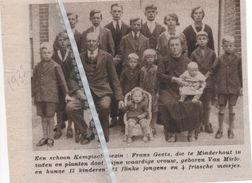 MINDERHOUT...1932...MOOI KEMPISCH GEZIN 15 KINDEREN BIJ FRANS GEETS - VAN MIRLO - Old Paper
