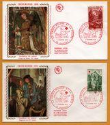 2 FDC - 1er Jour - Croix Rouge - Soie - Soierie - Chapelle De Dissay - L'Ange Au Fouet - Seigneurs - 86 Poitiers  - 1970 - 1970-1979