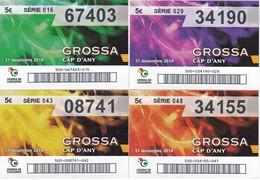 SERIE COMPLETA 4 DIBUJOS DE LOTERIA DE LA GROSSA DE CAP D'ANY DEL AÑO 2014 (LOTO) LOTERIA DE CATALUNYA - Billetes De Lotería