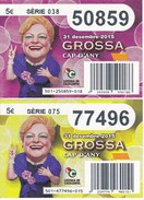LOTE DE 2 DIBUJOS DE LOTERIA DE LA GROSSA DE CAP D'ANY DEL AÑO 2015 (LOTO) LOTERIA DE CATALUNYA - Billetes De Lotería
