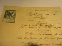 RESTAURANT AU CHAPON FIN   POITIERS - Menu