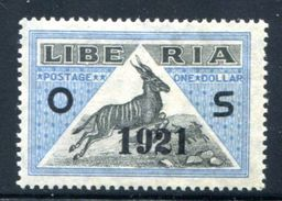 LIberia OFFICIAL Overprinted 1921 MH*VF  1$ Antelope - Liberia