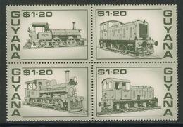 Guyana 1987 Mi 1917 /20 YT 1629 /2 4-block ** Guyana Railways - Locomotive/ Eisenbahnen - Lokomotive / Treinen - Treinen