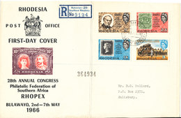 Rhodesia Registered FRONTPAGE Of A FDC 2-5-1966 Rhopex Bulawayo 2-7/5-1966 With Cachet (Bended) - Rhodesia (1964-1980)