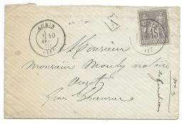 ENVELOPPE SAGE 15 C GRIS / AUBIN AVEYRON POUR AUZITS / 1878 - Marcofilia (sobres)